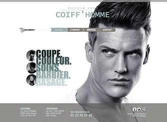 Coiffeur Homme Template - Attirez une clientèle jeune et branchée avec ce template soigné et moderne. Ajoutez votre texte et téléchargez des images pour présenter les différents soins proposés par votre salon de coiffure. Personnalisez le design pour créer un site Internet qui saura représenter votre marque.