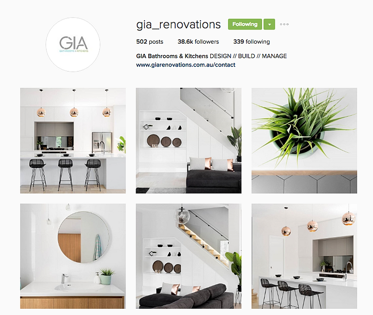 Specialising in boutique bathroom and kitchen renovations  GIA approached  TAG Digital with the aim of establishing their Instagram account to be the  leading. tagdigital   GIA Renovations