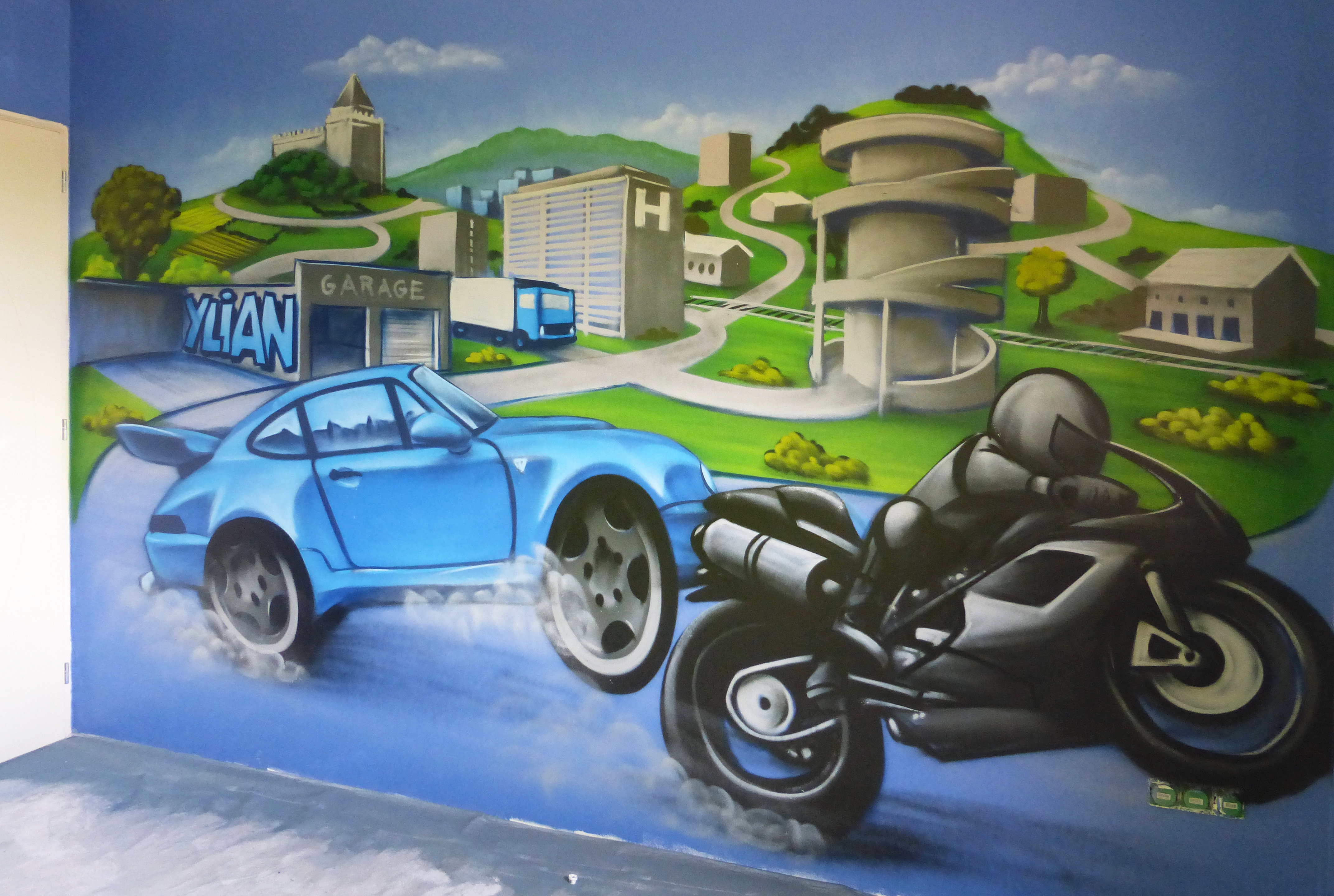 Decom deco graff deco chambre enfant moto voiture - Deco chambre enfant voiture ...