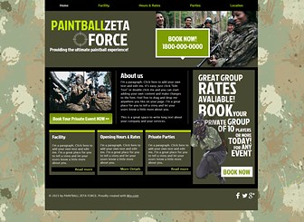 Paintballing Template - Featuring camouflage colors and a paint-splattered background, this free template awaits your paintball or outdoor adventure center. Add text to advertise your facilities, rates, and promotions. Upload photos to give visitors a sneak peek of the fun that awaits them!