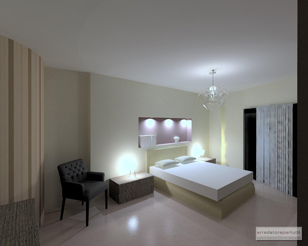 ... interni online,interior design  camera con nicchia nel muro