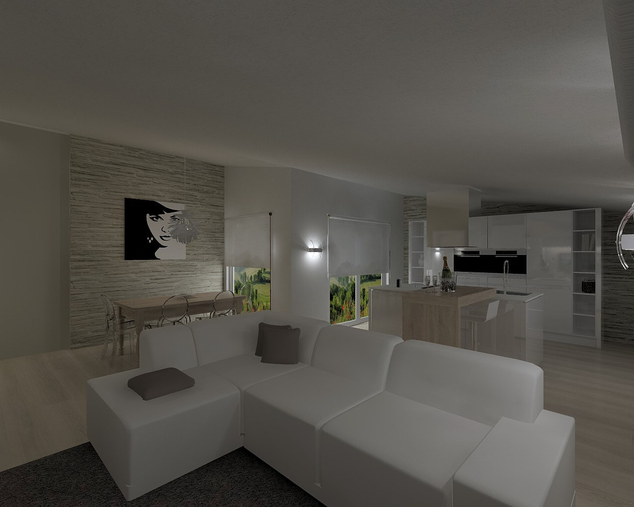 Gallery of interni online interior design parete di - Soggiorno con muro in pietra ...