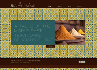 Middle Eastern Restaurant Template - Authentic middle eastern design lends to this delicate website template perfect for restaurants, lounges and bars. Create a tantalizing menu using the attractive accordion gallery to display your most sumptuous dishes. Start editing the text and images now to create an impressive website and establish your online presence!