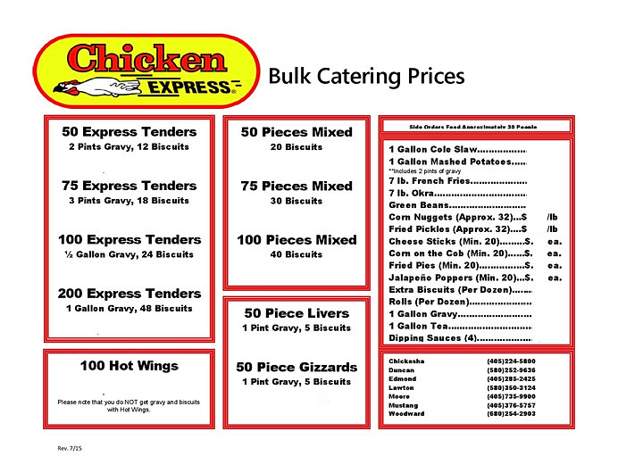 Chicken Express Menu