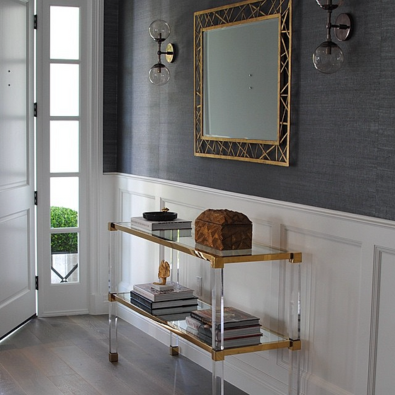 Lucite Console Table With Shelf