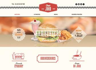Restaurant Rétro Template - Avec ses graphismes et ses polices rétro, ce template vous transporte dans l'univers des restaurants américains des années 50. Personnalisez le menu et téléchargez des photos de vos plats pour faire découvrir votre restaurant au monde entier.