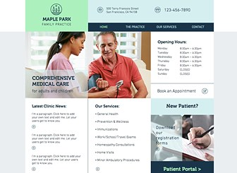 Family Medicine Template - This welcoming template is ideal for your family clinic. Inform your patients about all the services you offer, and link to your Patient Portal so they can access their records online. You can even upload forms for your new patients to download and streamline the paperwork process!