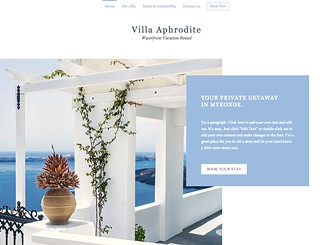Tropical Villa Rental Template - Give you guests a tease of what they'll experience with this bright and alluring website template for your villa. The large sized images and elegant slideshow gallery allows you to showoff your villa or guest house and attract visitors from across the globe. Simply click edit and start customizing both the image and text to create a website that's as attractive as your accommodation.