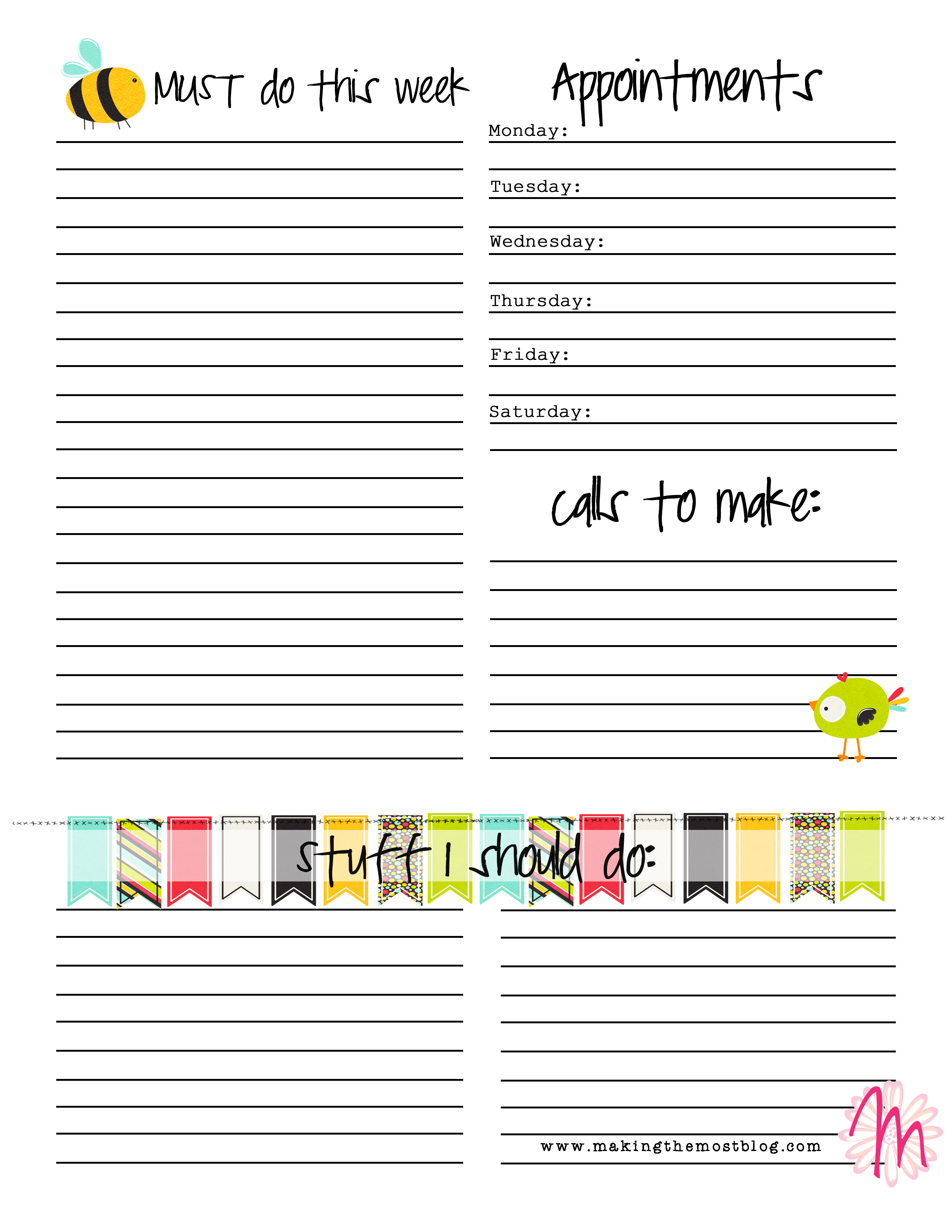 Free Daily Planning Worksheet Printable | Making the Most Blog