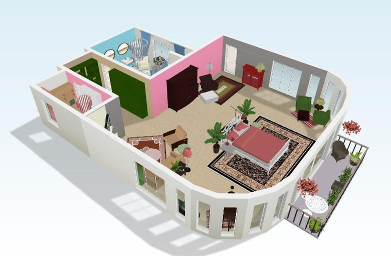 Beau 3d View Of House Plan