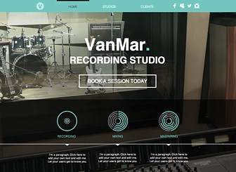 Studio de Musique Template - Dynamic and vibrant, just like the musicians you work with. Bold colors and imagery will set your studio apart, and customizable pages give you the space to promote your clients, equipment, and staff. Upload your photos, connect your social media accounts, and get ready to rock out with new clientele!