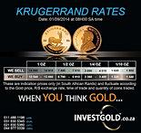 Krugerrand rates 01/09/2014