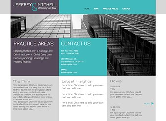 Law Firm Template - Give your firm a slick and professional edge with this corporate website template. The grid layout an informative text boxes allow you to display your most important information in a clean and striking manner. Just click to begin editing and watch your firm soar to success.