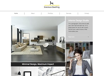 Société de Design Intérieur Template - With a stylish, masonry layout yet clean and minimal design, this is the perfect website template for an interior designer, or anyone wishing to showcase their creative talents. Use the portfolio page to upload examples of your previous work, and edit the services section so your clients know exactly what you offer. Start editing now to create a website that reflects the style of your business.
