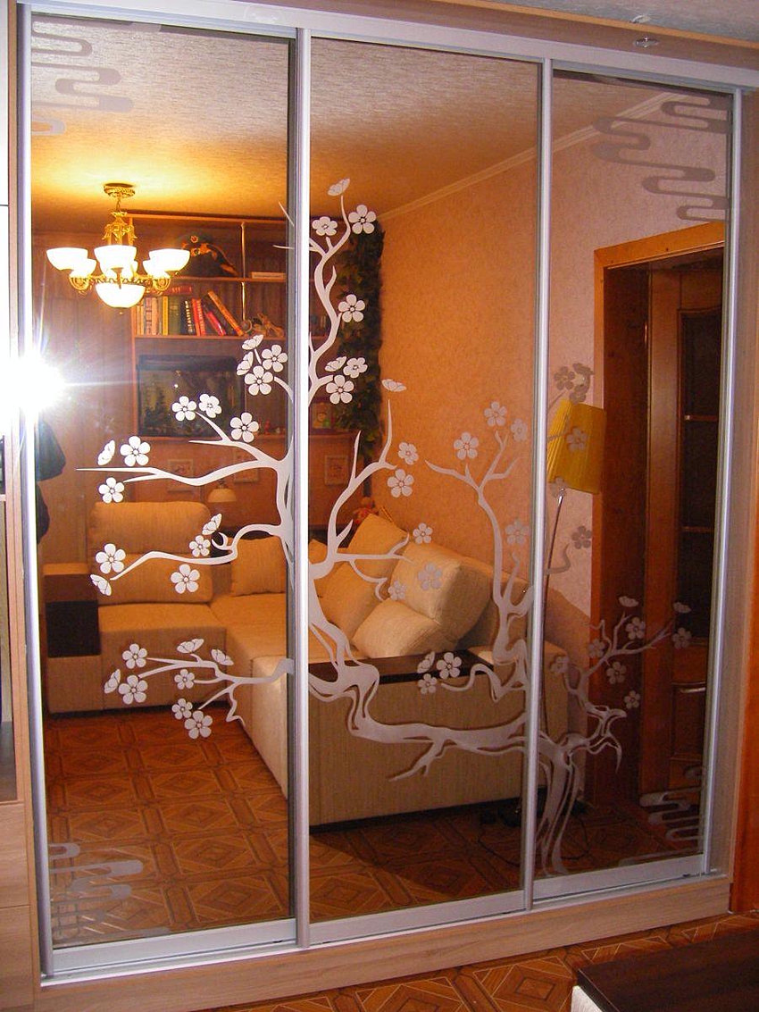 Шкафы купе с рисунком на стекле и зеркале. пескоструйка прим.