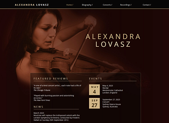 Classical Music Template - An elegant template in harmony with your classic style. This is the perfect place to tell your story, notify visitors of upcoming events, and share videos of past performances. Start editing to build your online presence!