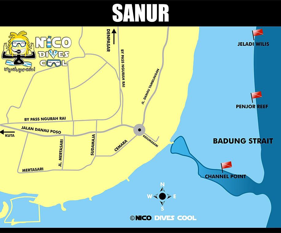 Map of Sanur Bali Bali Dive Map For Sanur