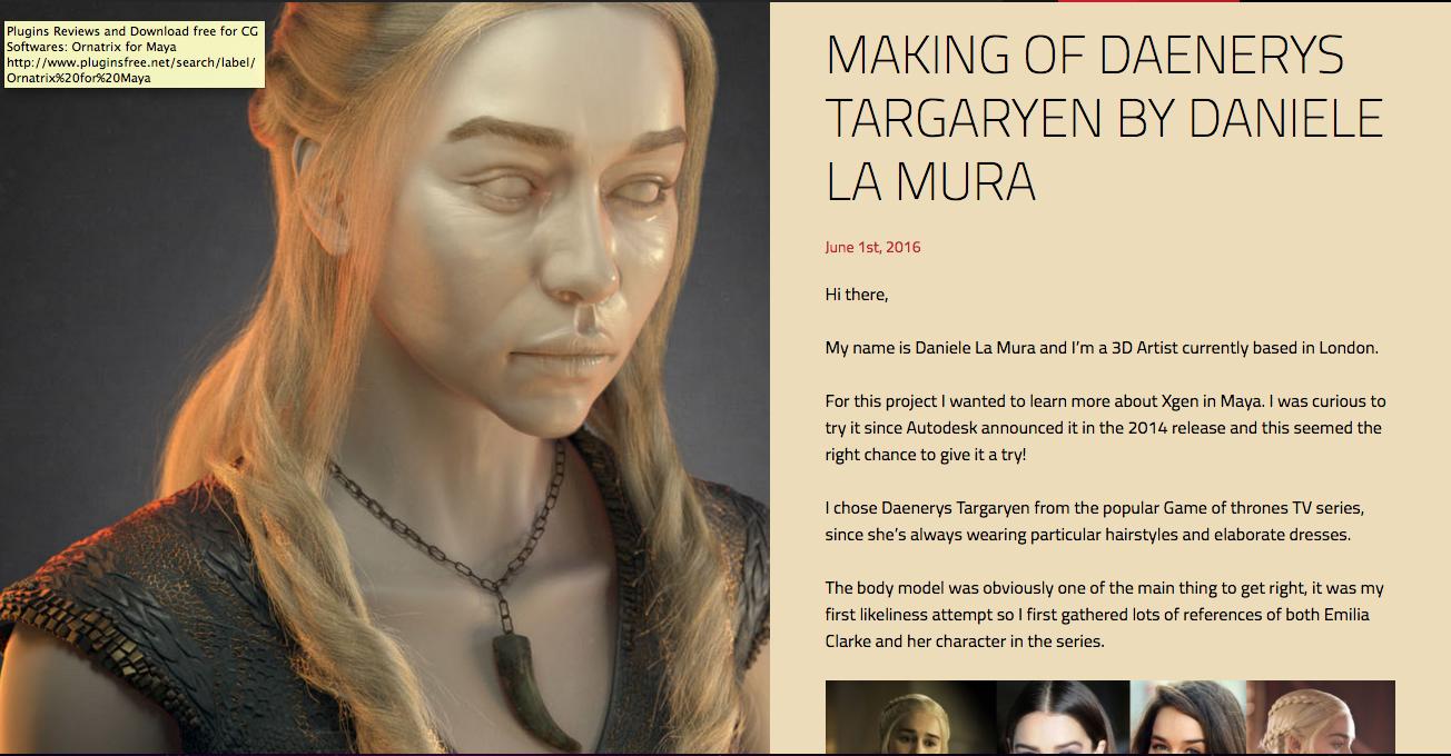 Xgen Hair Tutorial Of Daenerys Targarian By Daniele La Mura