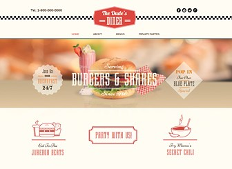 All American Diner Template - With retro graphics and vintage fonts, this template is a blast from the past. Simply customize the menu and upload images of your tasty dishes to share your diner or home-style restaurant with the world!