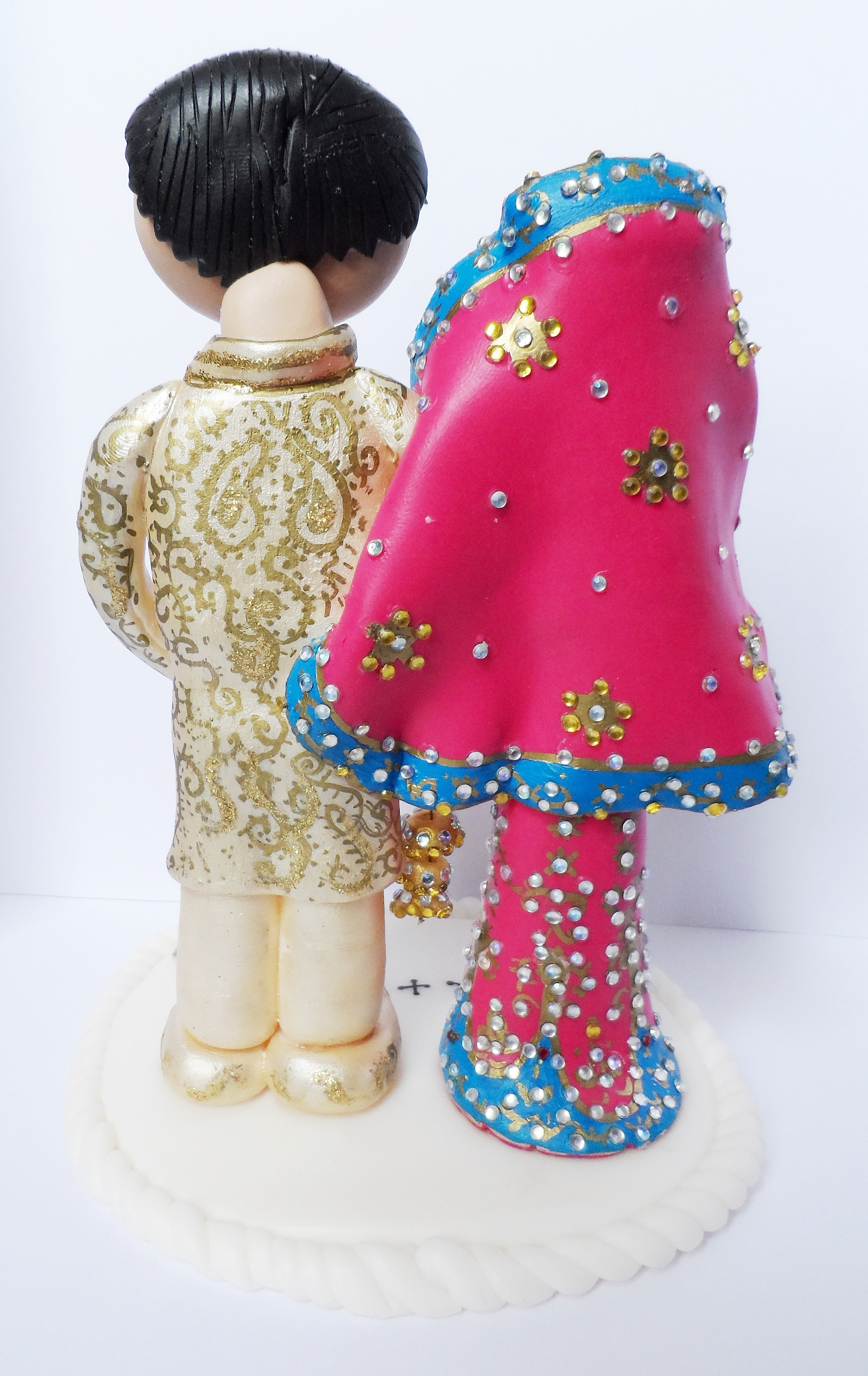 Asian Bride And Groom Wedding Cake Toppers