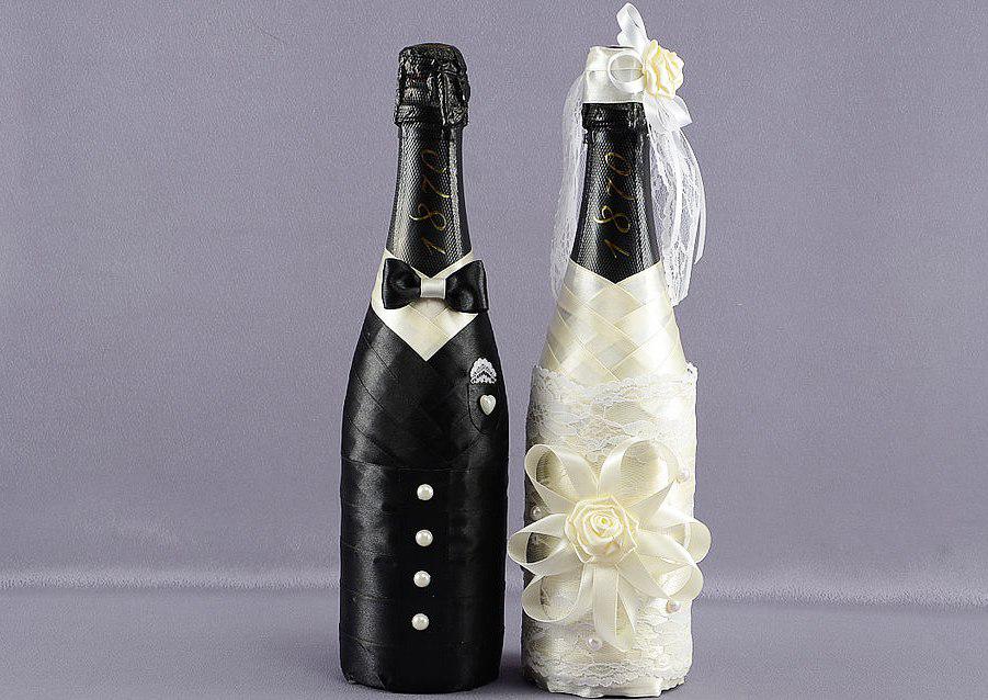 Бутылка шампанского жених и невеста на свадьбу своими руками 3