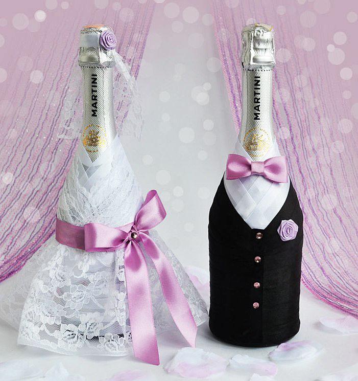 Видео как оформить шампанское на свадьбу своими руками