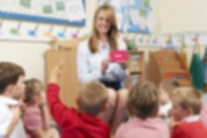Teacher Showing Flash Cards To Elementar