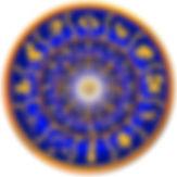 Horoskop-hjul med de 12 stjernetegn i Zodiaken eller Dyrekretsen