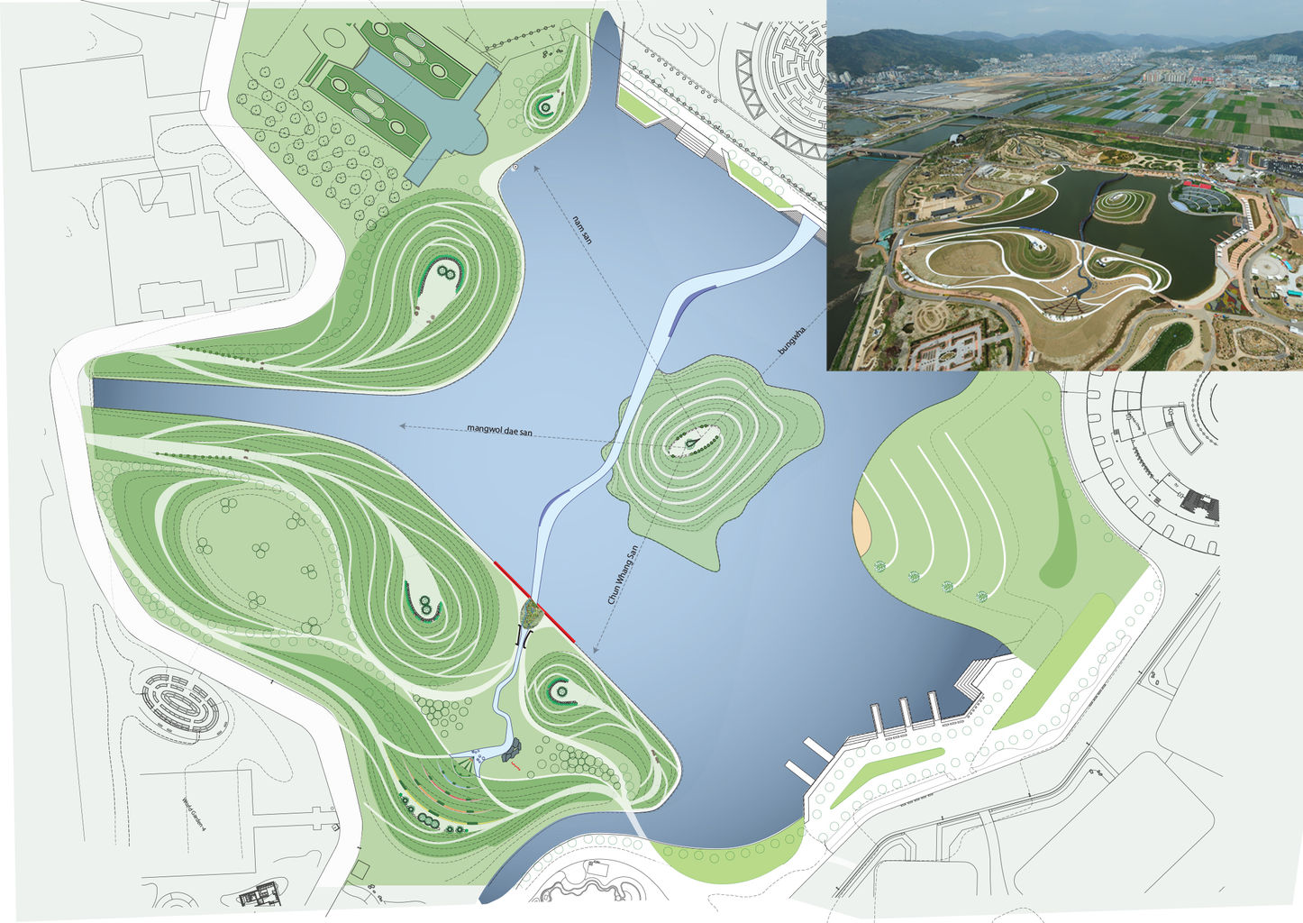 Site plan showing six mounds  'miniaturising the adjacent mountains' and the 'city as a lake' with the 'river as a bridge'