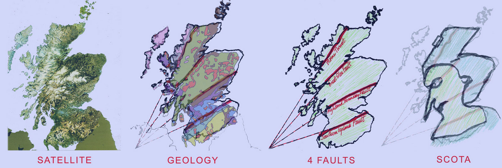 The map of Scotland, in red ballast, is divided by the four main faults cutting Scotland into different geological epochs.