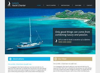 Yacht Charters Template - With clean design and classic style, this nautical-themed template awaits your boat charter or cruise ship company. Showcase your exotic destinations with multiple photo galleries and add text to introduce your packages and rates. All aboard!