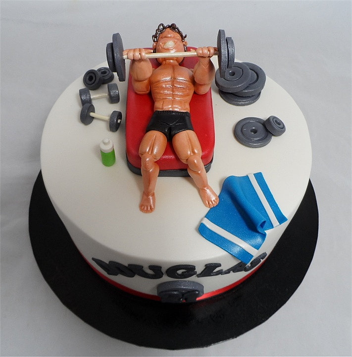 customcakedesigns gym body builder weight training cake