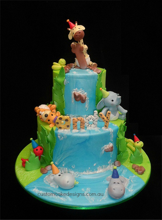 customcakedesigns Jungle Baby 1st birthday Cake