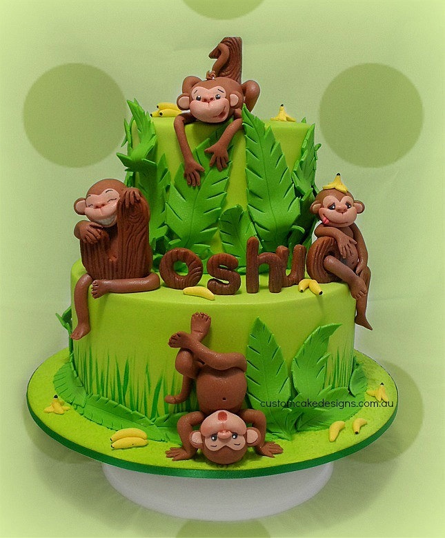 Images Of 1st Anniversary Cake : customcakedesigns Cheeky Monkey First Birthday Cake