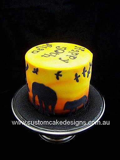 Customcakedesigns African Safari Sunset Cake