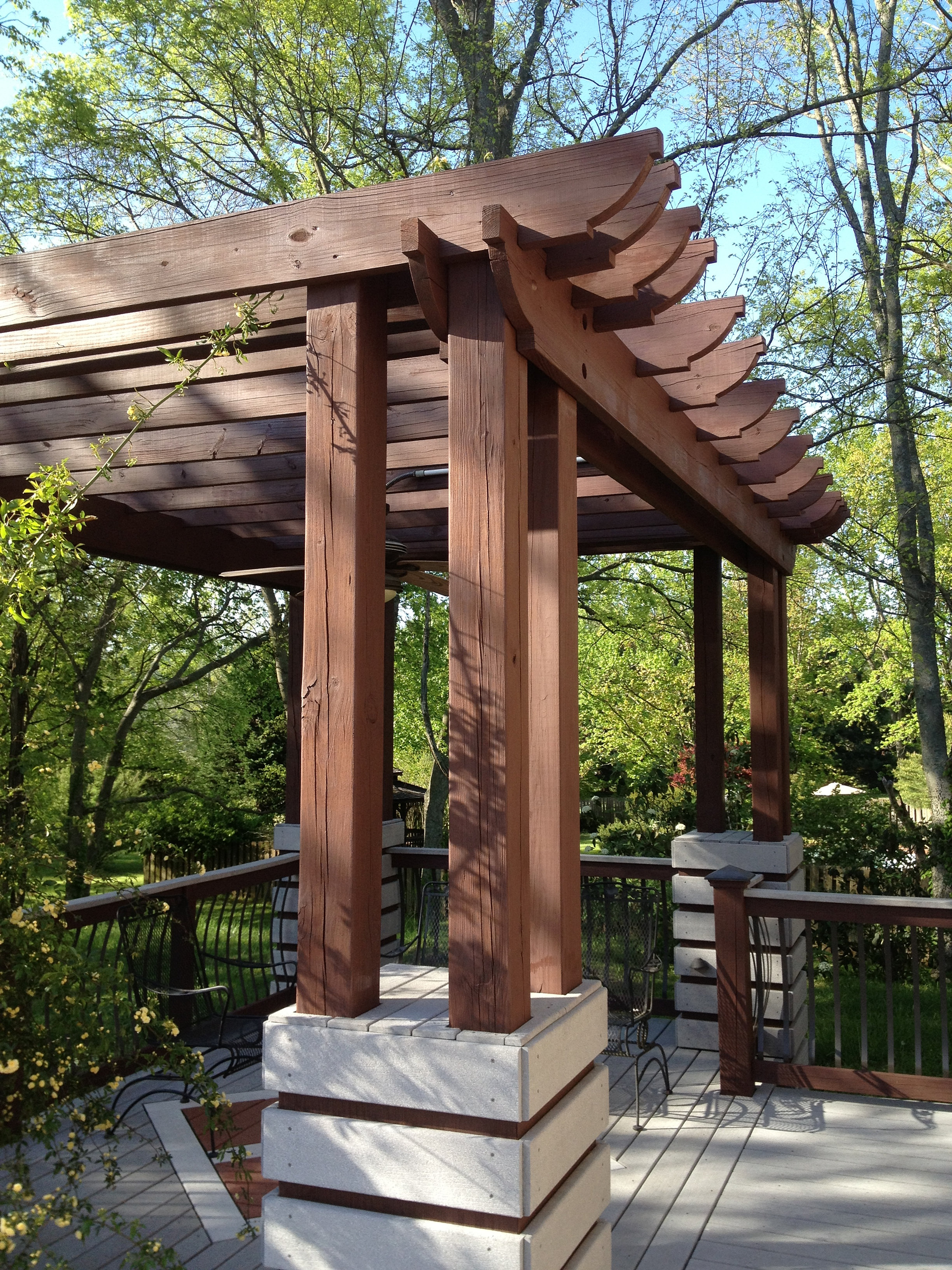 Beautiful wood pergola with semi-transparent stain