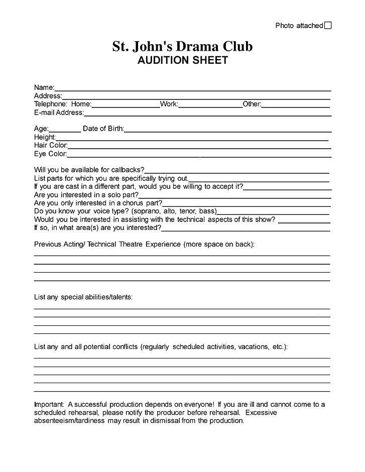 St. John'S Drama Club | Audition Form