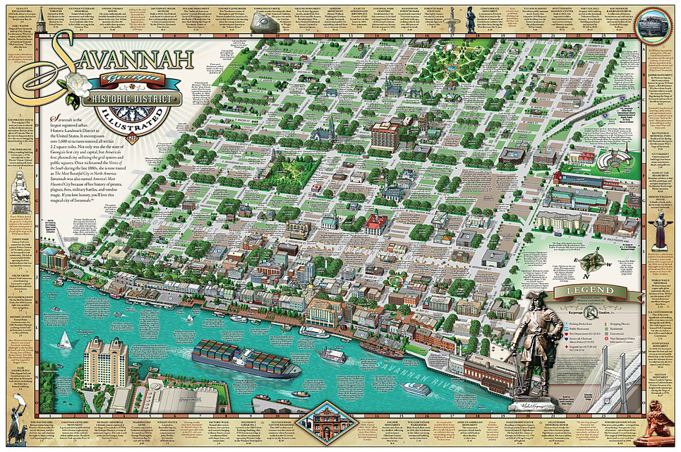 savannah map historic district