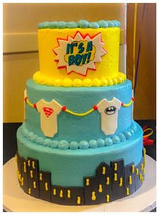 Super Hero Baby Onesie Cake
