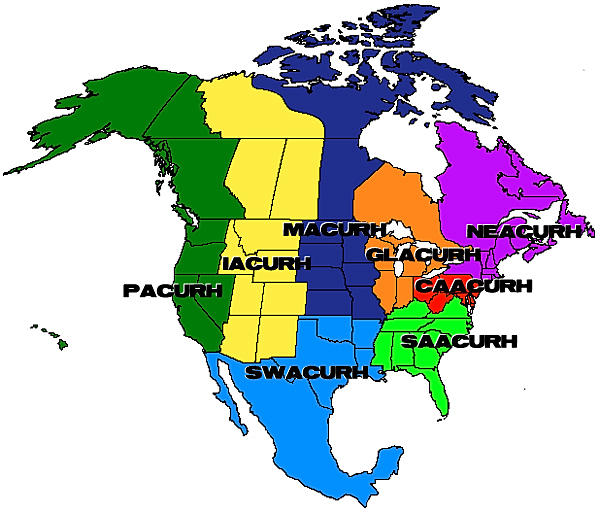 A map of the regions of NACURH