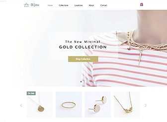 Jewelry Designer Template - This chic, understated template is the perfect home for your jewelry. Design an elegant online store with customizable colors, fonts, and inner pages. Add text, upload photos, and let your web presence sparkle!