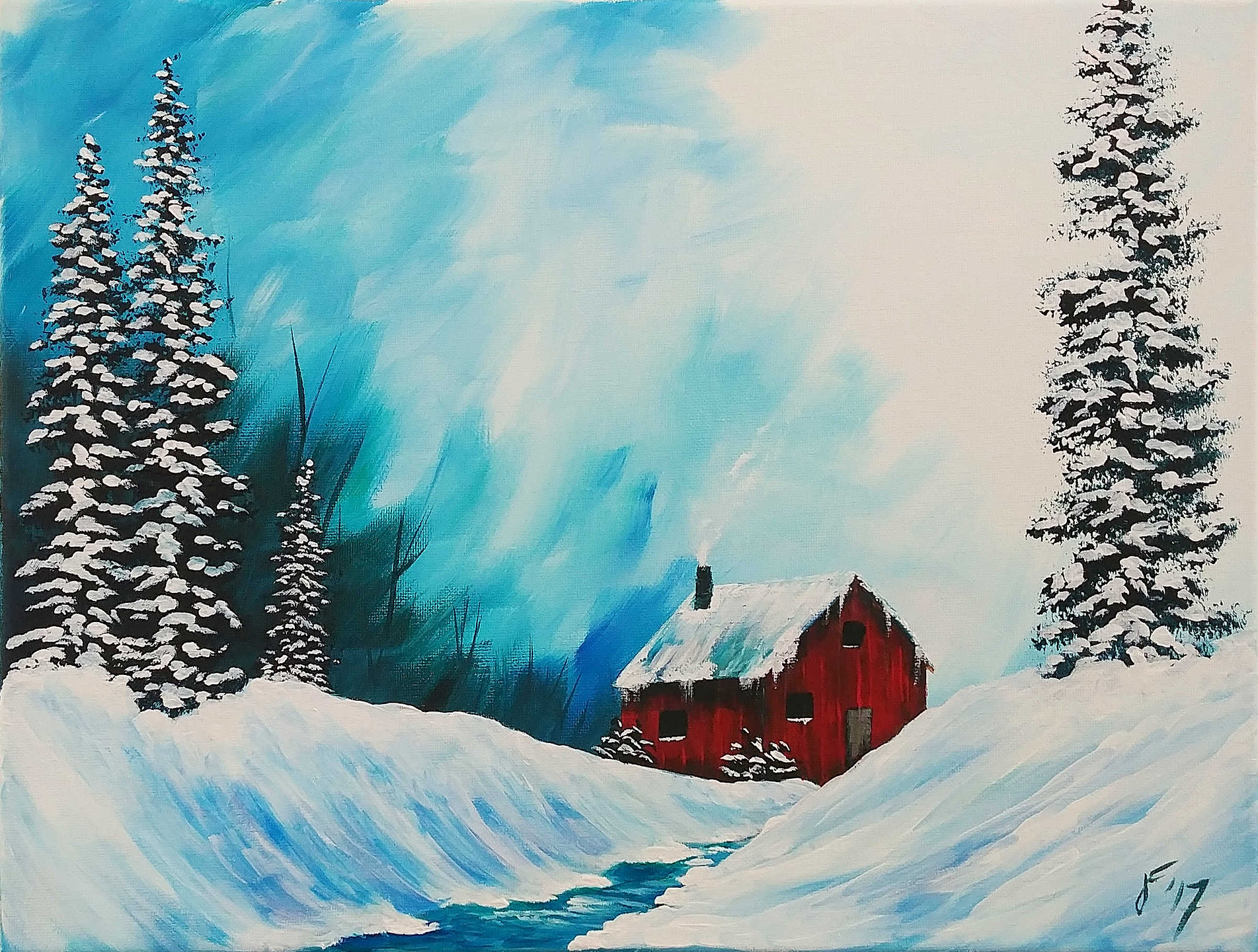 Acrylic Painting Tutorials For Beginners Cabin Scenes
