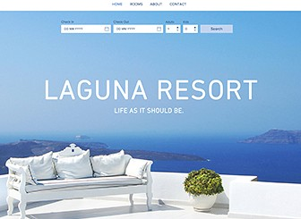 Laguna Resort Template - Make dreams a reality and entice people to your resort with this alluring hotel website template. With Wix Hotels, managing your bookings has never been easier. Simply add descriptions and upload your own photos to attract guests. Once online, you can manage all your reservations and watch as your rooms get booked up!