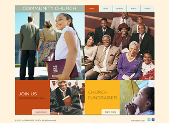 Community Church Template - Create an online presence for your church or religious organization with this warm and friendly template. The emphasis on text gives you plenty of room to provide in-depth descriptions of your history, ministries, and services. Start editing to spread the word!