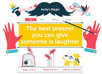Party Magician Template - Create a spellbinding website with this fun and enchanting magician website template. The friendly and enticing illustrations make this a perfect website for magicians or entertainers wishing to engage with a younger audience. Simply customize the text and adapt the color palette to reflect your personal style. Start editing now and bring the magic of your business online!