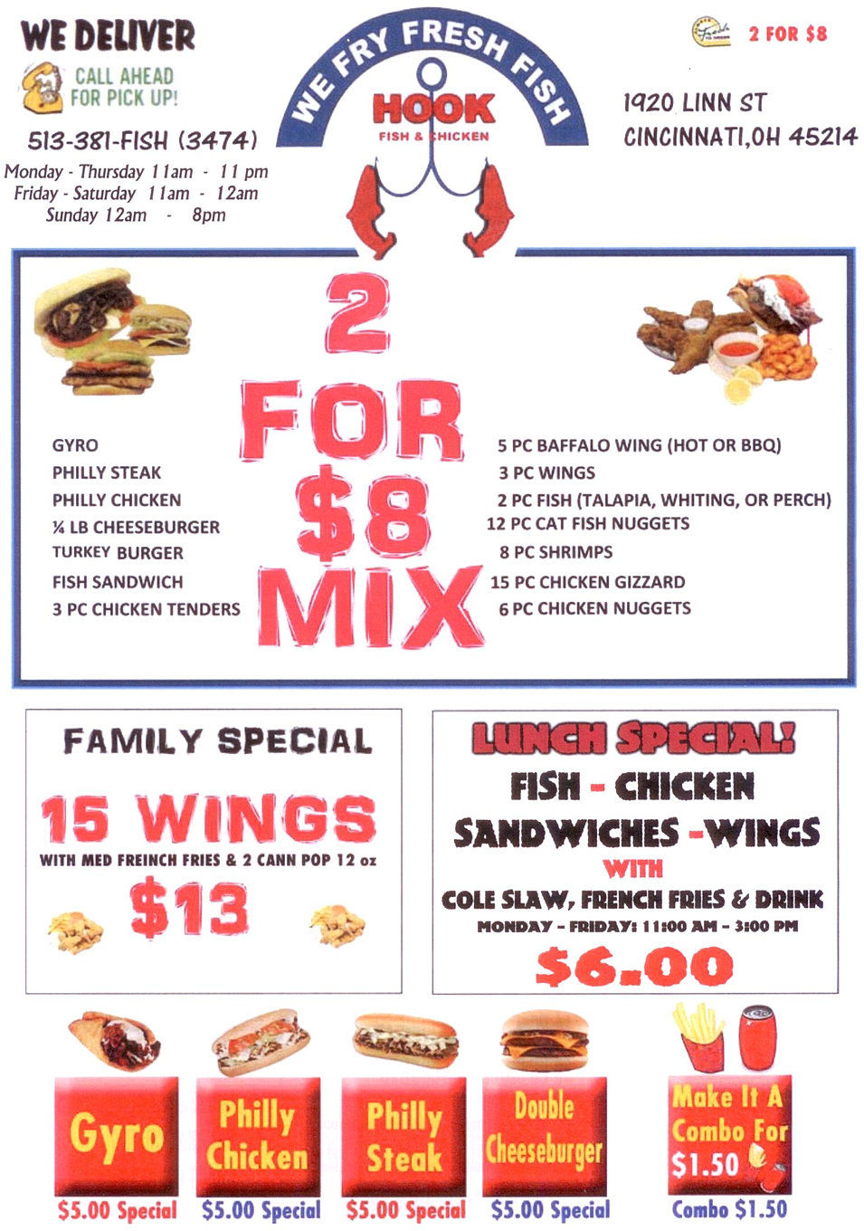 Welcome to hook fish chicken downtown for Fish and chicken menu