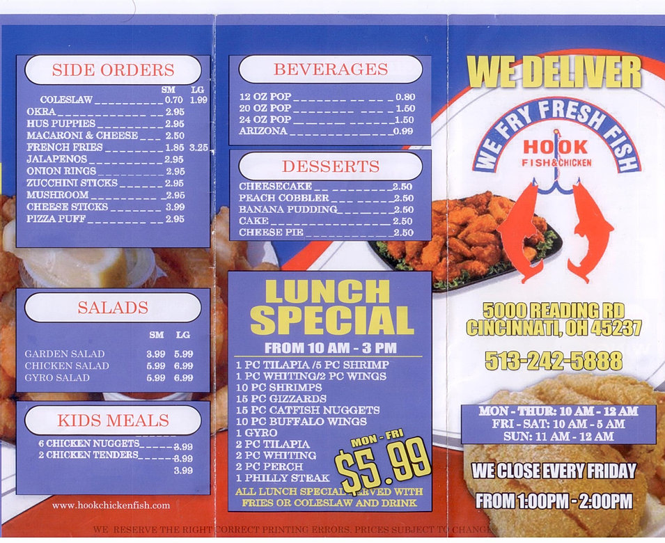 Welcome to hook fish chicken bonhill for Hook fish and chicken menu