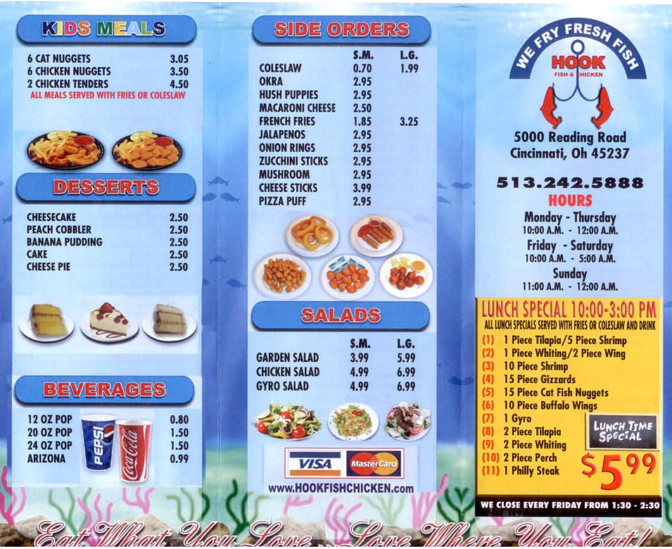 Welcome to hook fish chicken bonhill for Fish and chicken menu