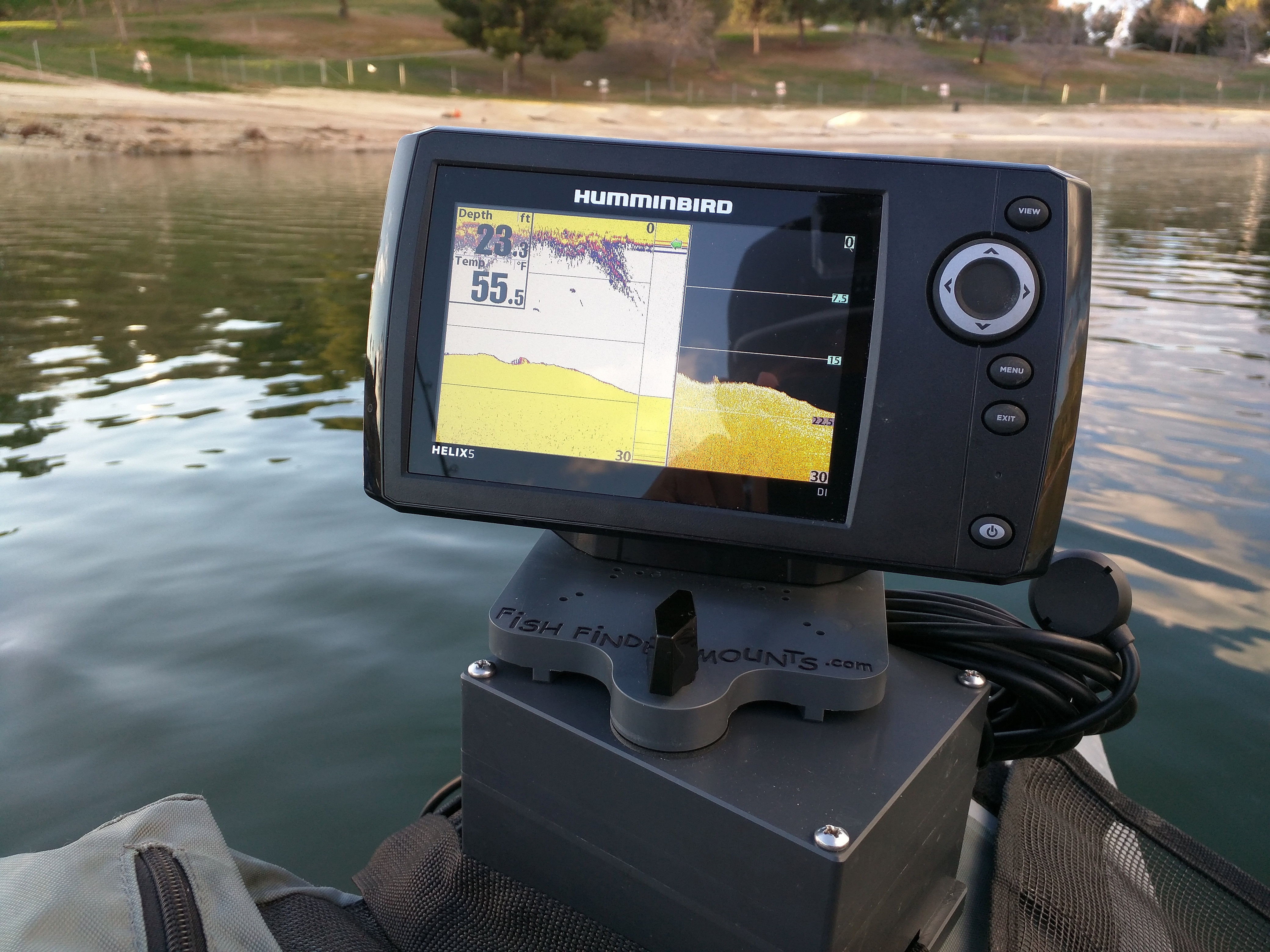 fish finder mounts  | humminbird helix 5 on float tube, Fish Finder