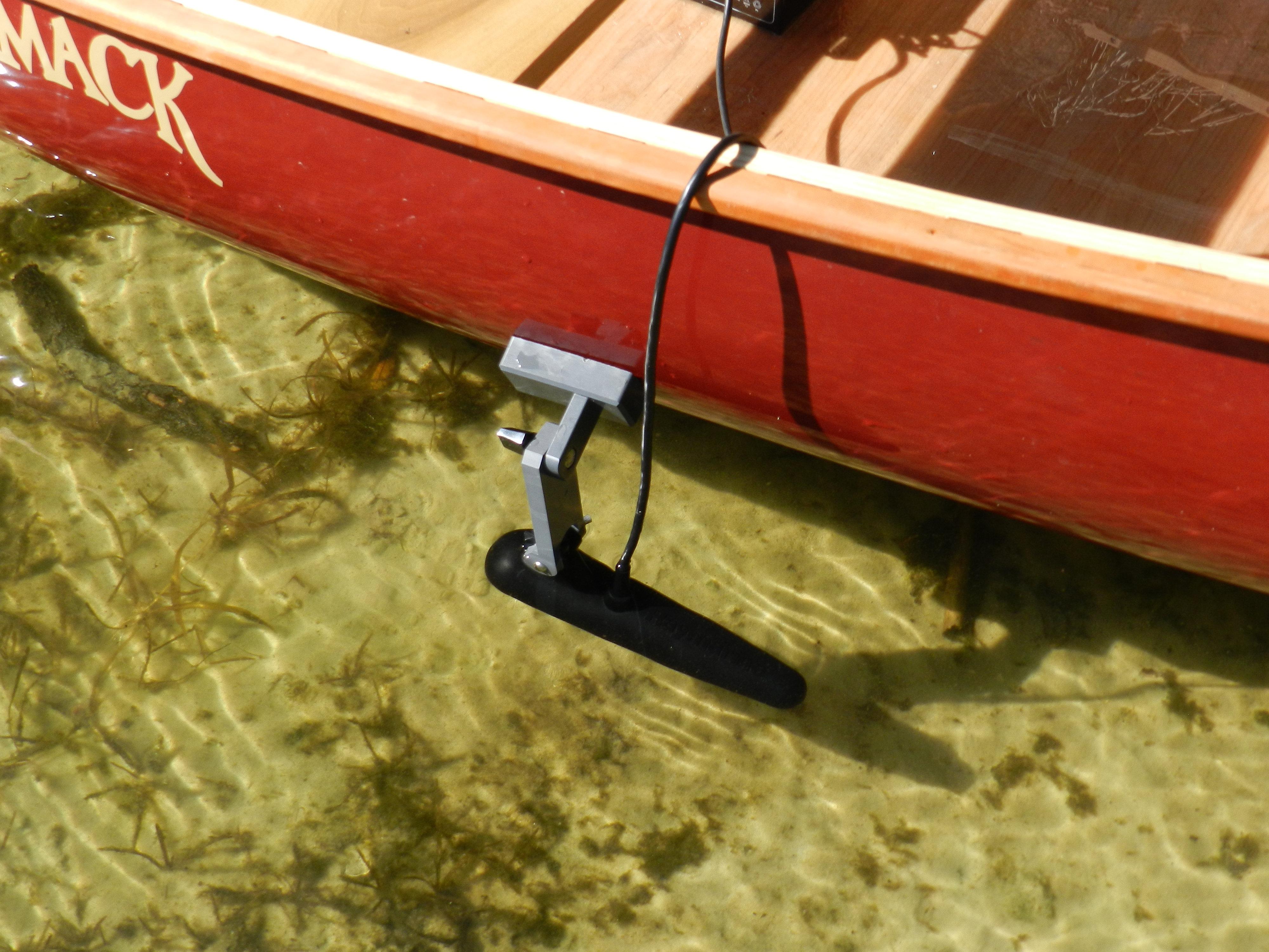 fish finder mounts  | raymarine 6 transducer on canoe, Fish Finder